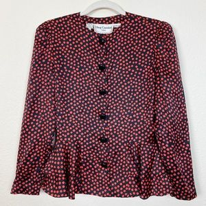 Oleg Cassini | Vintage Silk Polka Dot Blouse 6